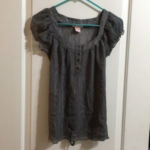 Fire Los Angeles Sheer Sparkly Gray Blouse